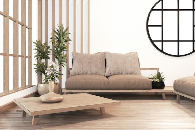 Interior, sala de estar moderna zen estilo japonés