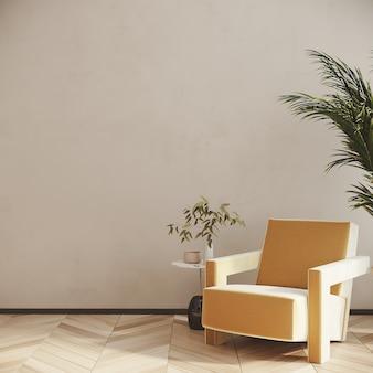 Interior de la sala de estar con sillón amarillo frente a la pared blanca 3d render