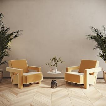Interior de la sala de estar con sillón amarillo render 3d