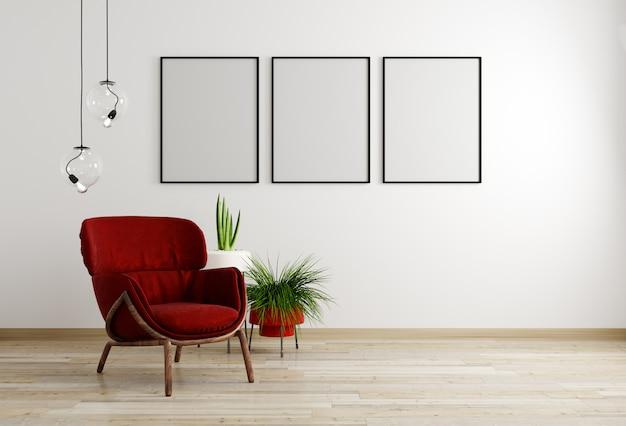 Interior de la sala de estar con sillón rojo y flor, fondo de maqueta de pared blanca, representación 3d