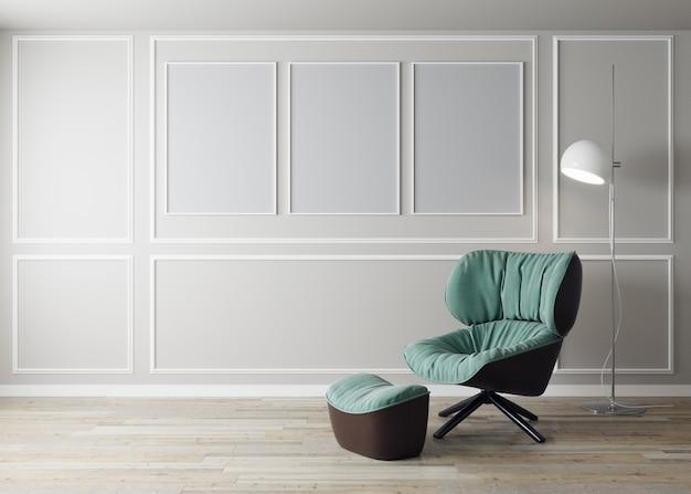 Interior de la sala de estar con sillón verde y flor, fondo de maqueta de pared blanca, representación 3d