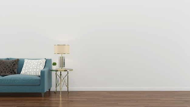 Interior de la sala de estar sofá verde pared moderna piso de madera lámpara de mesa de fondo