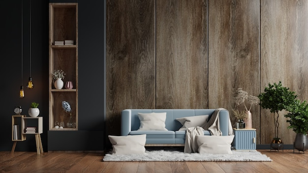 El interior de la sala de estar tiene un sofá en una pared de madera oscura vacía. representación 3d