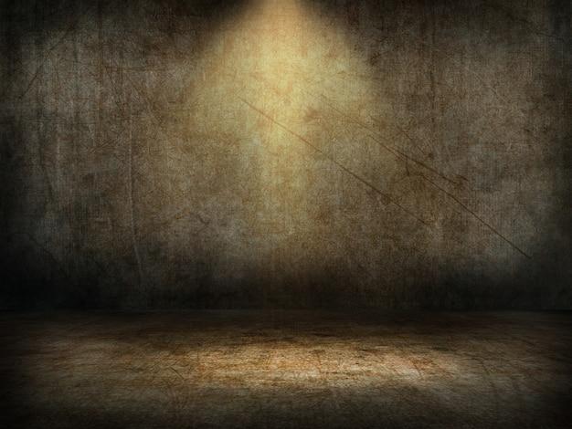 Interior de sala de grunge 3d con foco brillando hacia abajo