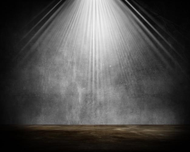 Interior de la sala de grunge 3d con reflector brillando