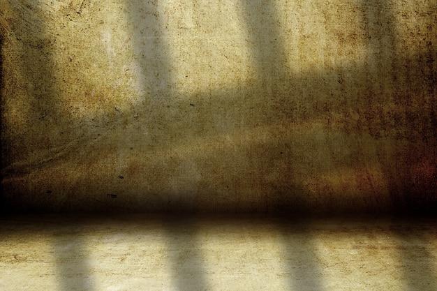 Interior de sala de grunge 3d con sombras