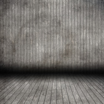 Interior de sala de madera de grunge 3d