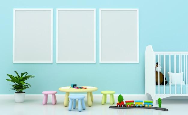 Interior de la sala de niños con linda decoración y marcos de fotos en blanco en la pared. renderizado 3d