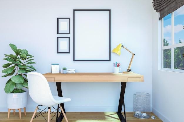 Interior de la sala de trabajo con marco de fotos en blanco para simulacro en la pared