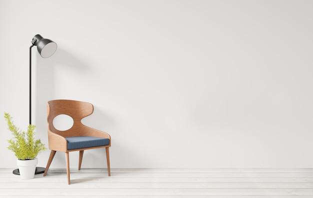 Interior con silla de madera de pared blanca y piso de madera, fondo de pared vacía de lámpara