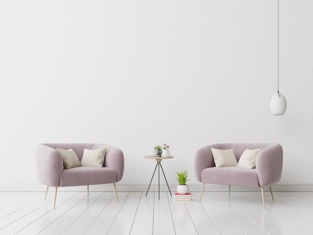 Interior con sillón de terciopelo en la pared blanca vacía.