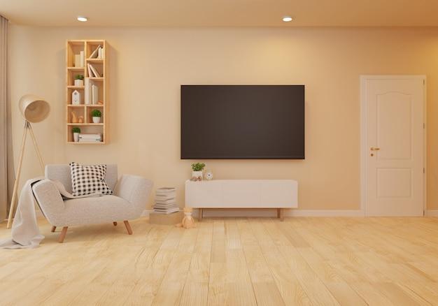 Interior con sillón de terciopelo en salón con pared blanca