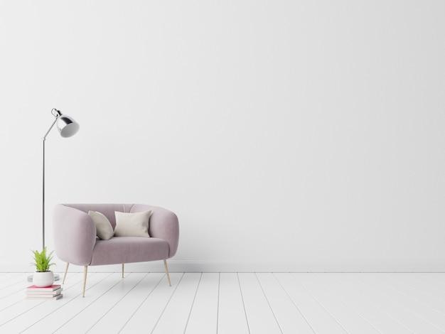 Interior con sillón de terciopelo sobre fondo de pared blanca vacía.