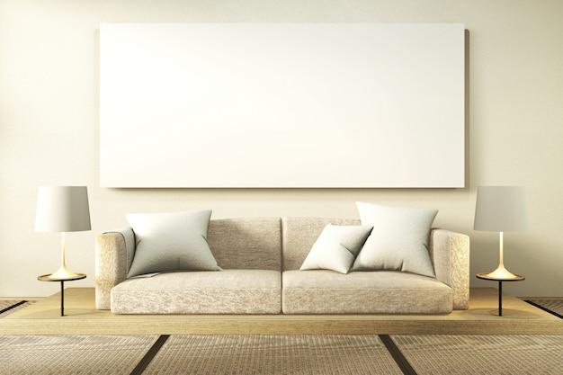 Interior simulacro sofá de madera diseño de japón, en la habitación japón piso de madera.