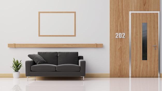 Interior con sofá oscuro, renderizado.