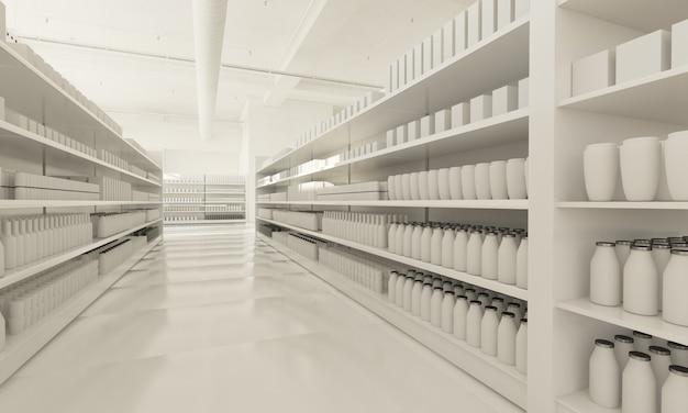 Interior de supermercado blanco