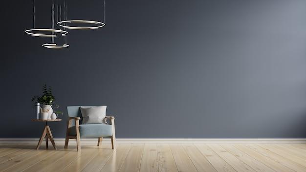 El interior tiene un sillón azul oscuro en una pared oscura vacía, representación 3d