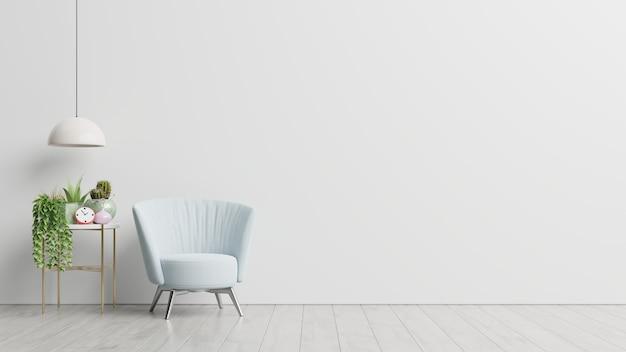 El interior tiene un sillón sobre fondo de pared blanca vacía, representación 3d