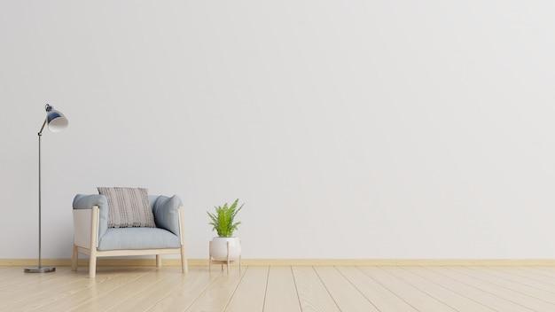 El interior tiene un sillón sobre fondo de pared blanca vacía.