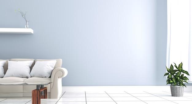 El interior tiene un sofá gris y una lámpara en el fondo de la pared blanca vacía.