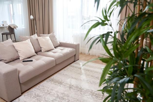 Interior vacío moderno salón con sofá