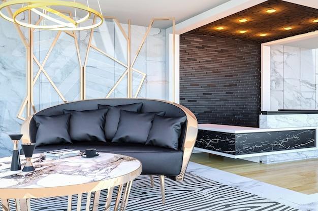 Interior del vestíbulo del hotel moderno y mostrador de recepción, representación 3d