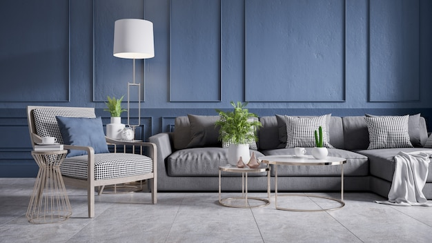 Interior vintage moderno de sala de estar, sofá gris con sillón de madera y mesa de café sobre baldosas de hormigón y pared azul oscuro, render 3d