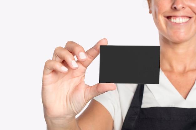 Introducción formal de la tarjeta de visita negra en blanco