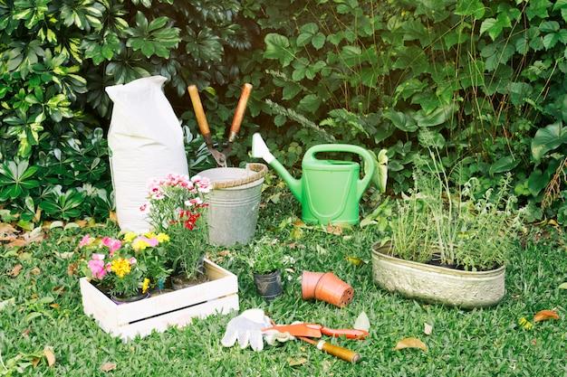 Inventario de jardinería con macetas sobre hierba.