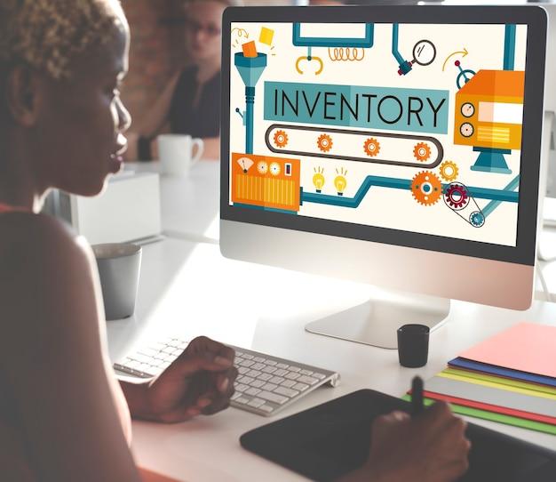Inventario stock activos de fabricación concepto de bienes