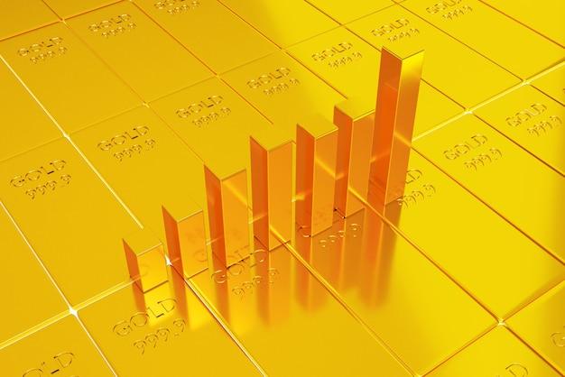 Invertir en acciones de oro, concepto de comercio de oro, representación de ilustración 3d
