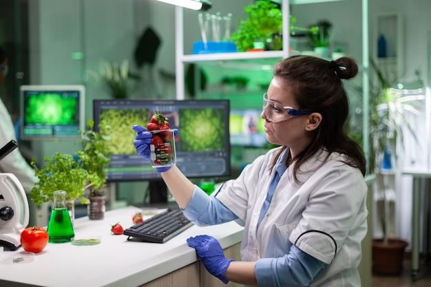 Investigador especialista sosteniendo fresa orgánica analizando frutas transgénicas