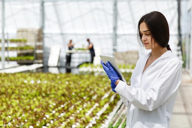 Investigador femenino lee información de una tableta de pie en el invernadero