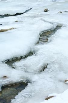Invierno (comienzo de primavera) vista al río de montaña con hielo en la superficie del agua