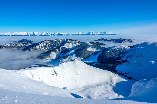 Invierno en eslovaquia. estación de esquí jasna. vista panorámica desde lo alto de las montañas nevadas y niebla en los valles