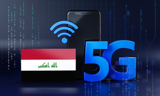 Irak listo para el concepto de conexión 5g. fondo de tecnología de teléfono inteligente de renderizado 3d