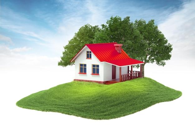 Isla con casa y árboles flotando en el aire sobre fondo de cielo