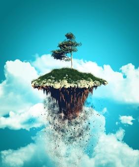 Isla flotante 3d explotando en el cielo