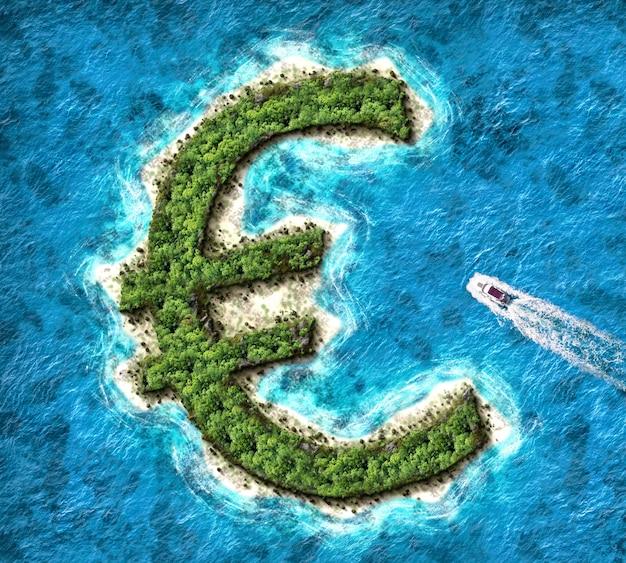 Isla en forma de euro. concepto de paraíso fiscal para cuentas bancarias offshore
