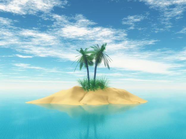 Isla tropical 3d con palmeras.