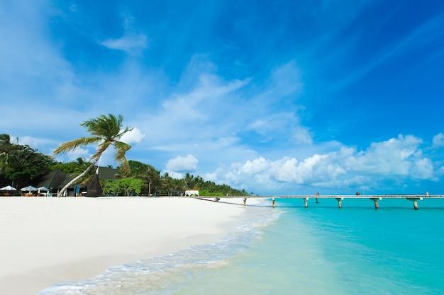 Isla tropical de maldivas con mar y playa de arena blanca