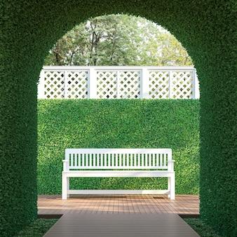 Ivy tunnel 3d render hay una forma curva con una pasarela de madera amueblada con banco blanco