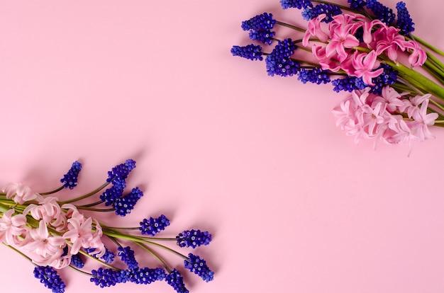 Jacinto rosa y flores azules de muscari en rosa pastel.