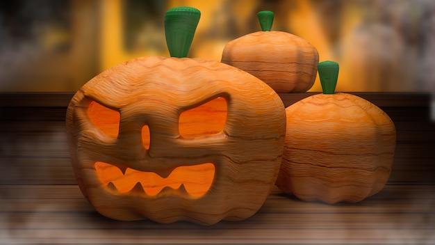 Jack de calabaza para la representación 3d del concepto de vacaciones de halloween.