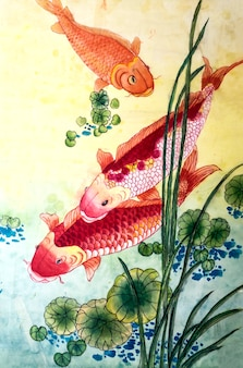 Japonés, pintura, japón, naturaleza, tradicional, estación