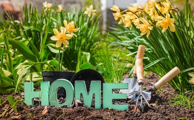 Jardinería, hermosas flores de primavera con suministros de jardín.