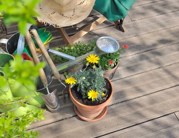 Jardinería en una terraza de madera.
