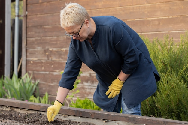 Jardinero femenino plantar semillas en el jardín al aire libre en el patio trasero, cultivo de plantas