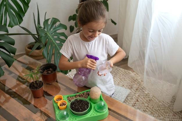 Jardinero de niña divertida con plantas en la habitación en casa, regando y cuidando plantas de interior, trasplanta flores.