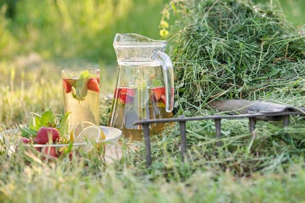 Jarra y vaso de té de hierbas con fresas menta limón sobre la hierba